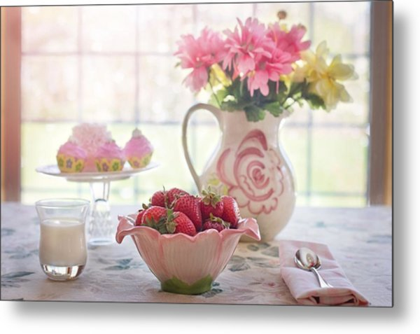 Strawberry Breakfast Metal Print