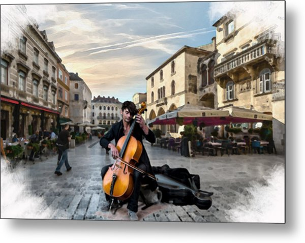 Street Music. Cello. Metal Print