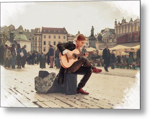 Street Music. Guitar. Metal Print