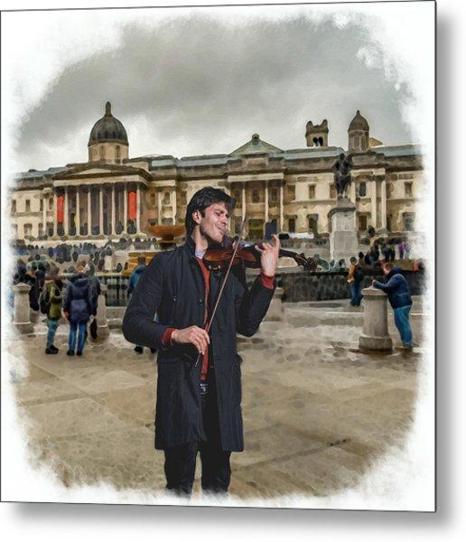 Street Music. Violin. Trafalgar Square. Metal Print