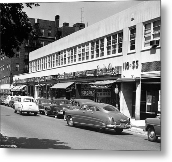 Street Scene With  Cars Parked In Front Metal Print
