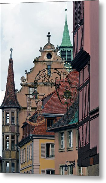 Street With Church Steeple Metal Print by John Elk Iii