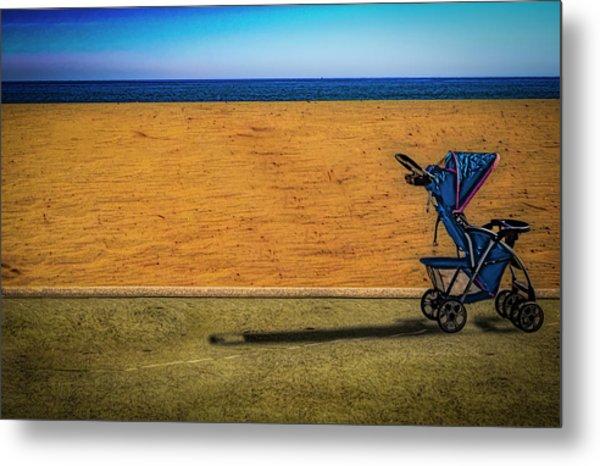 Stroller At The Beach Metal Print