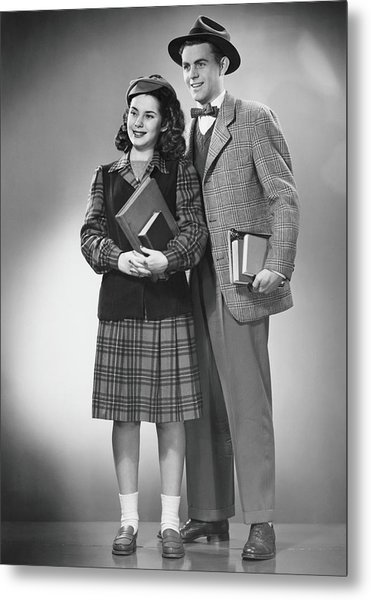 Student Couple Posing In Studio, B&w Metal Print by George Marks