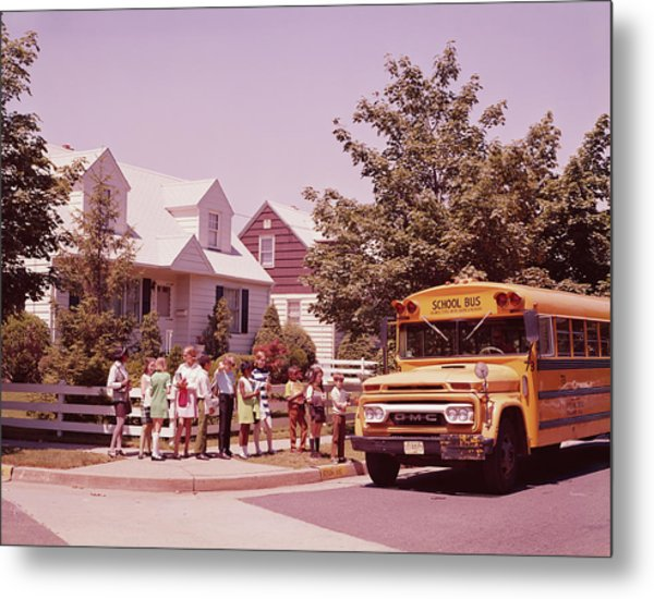 Students Waiting To Board Bus Metal Print by H. Armstrong Roberts