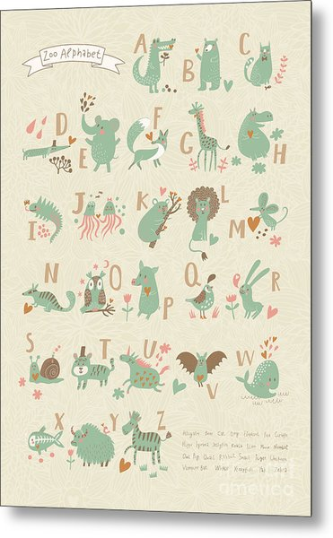 Stylish Zoo Alphabet In Vector. Lovely Metal Print by Smilewithjul