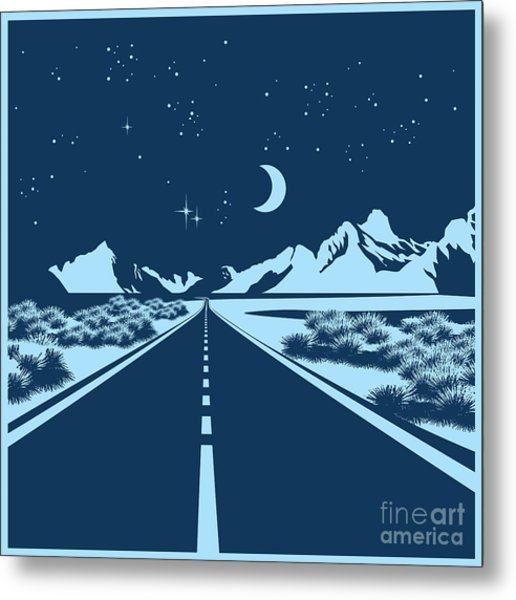Stylized Vector Illustration Of A Night Metal Print