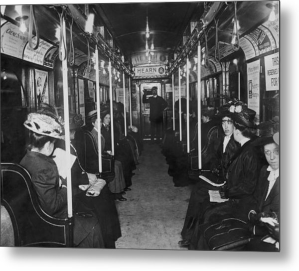 Subway Passengers Metal Print by Hulton Archive