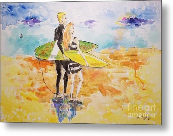 Surfer Couple Metal Print