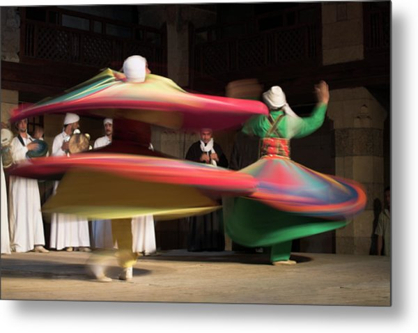Sufi Dancers At A Traditional Show In Metal Print by David Clapp