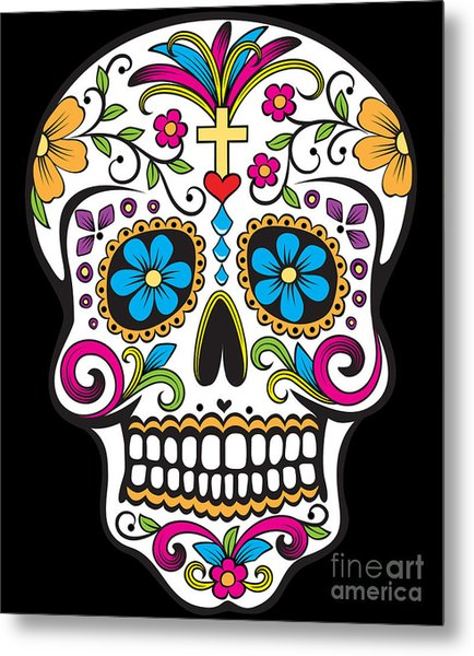 Sugar Skull Day Of The Dead Metal Print