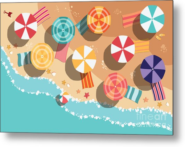 Summer Beach In Flat Design, Aerial Metal Print