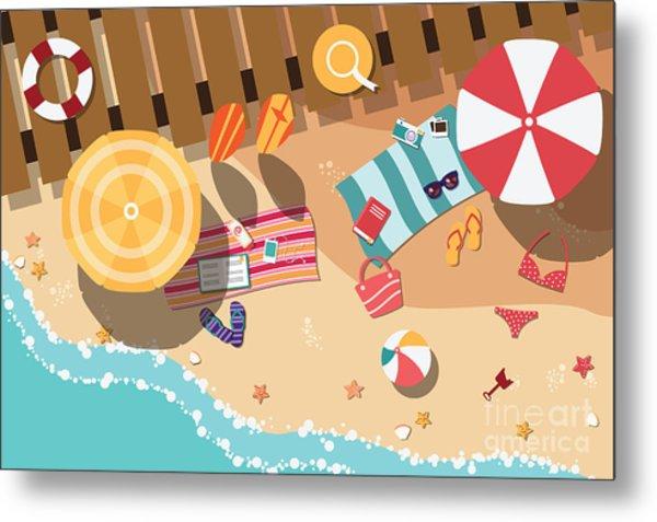 Summer Beach In Flat Design, Sea Side Metal Print