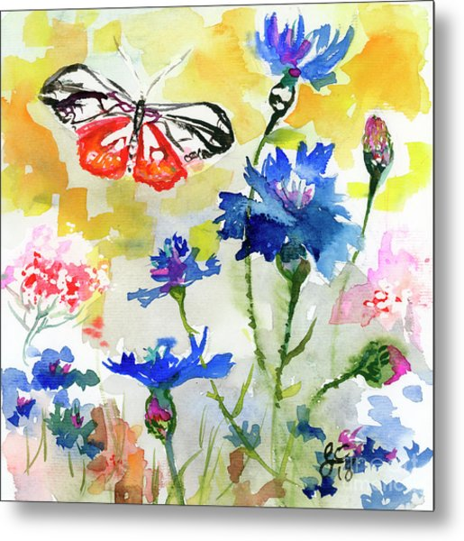 Metal Print featuring the painting Summer Butterfly In Cornflowers by Ginette Callaway
