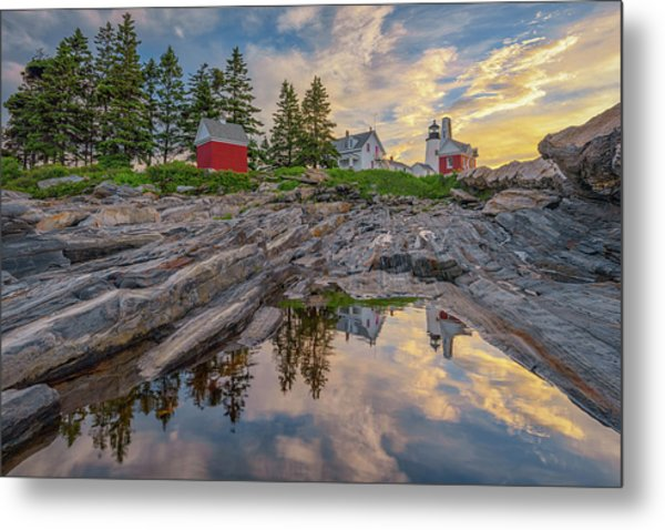 Summer Morning At Pemaquid Point Lighthouse Metal Print