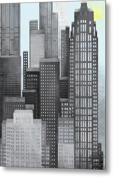 Sun And Skyscrapers Metal Print