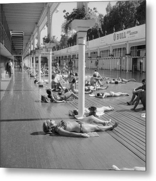 Sun Bath Deligny Swimming Pool Paris In Metal Print