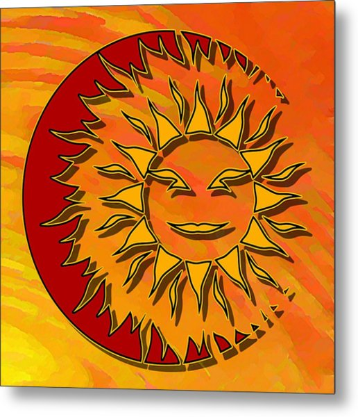 Sun Eclipsing The Moon Metal Print