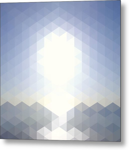 Sun Over The Sea - Abstract Geometric Metal Print by Bgblue