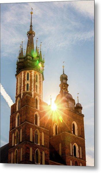 Sun Shining At St Mary Basilica In Krakow Metal Print