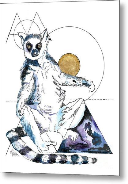 Sun Worship Ring Tailed Lemur Metal Print