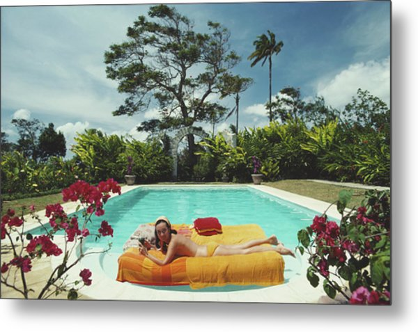 Sunbathing In Barbados Metal Print by Slim Aarons