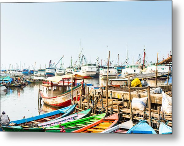 Sunda Kelapa Old Harbour  With Fishing Metal Print