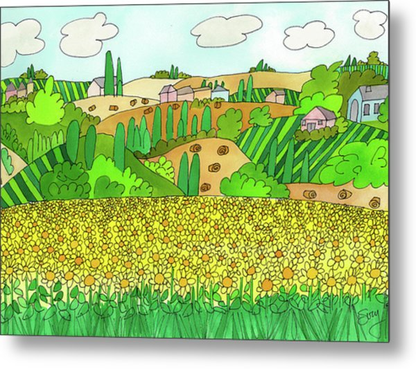 Sunflower French Countryside Metal Print