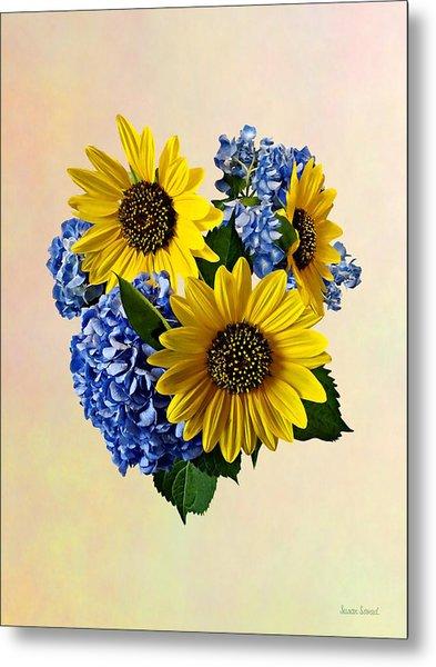Sunflowers And Hydrangeas Metal Print by Susan Savad