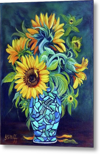 Sunflowers In An Art Deco Vase Metal Print by Janet Silkoff
