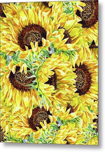 Sunflowers Pattern Watercolor Flowerbed  Metal Print