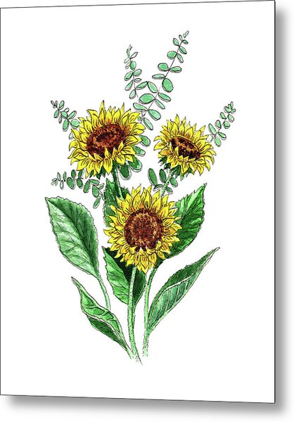 Sunflowers Sunny Bouquet In Watercolor Metal Print