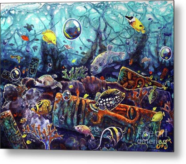 Sunken Tiki Reef Metal Print