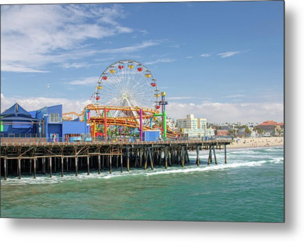 Sunny Day On The Santa Monica Pier Metal Print