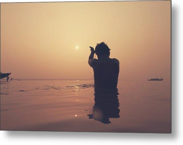 Sunrise At Ganges River, Varanasi Metal Print