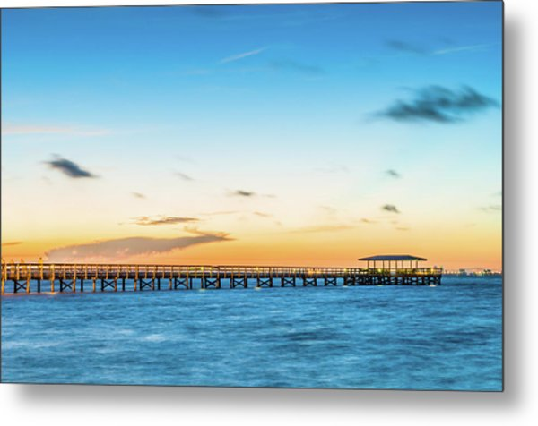 Sunrise At Safety Harbor Pier Metal Print