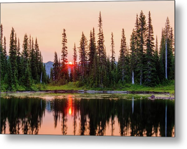 Sunrise From The Reflection Lake Metal Print