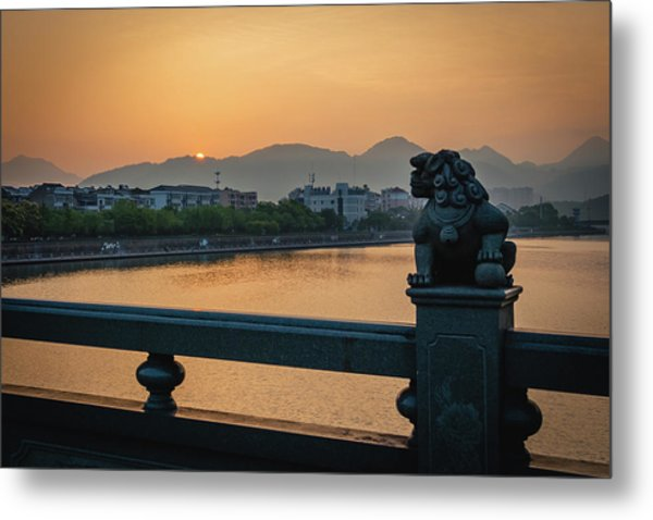 Metal Print featuring the photograph Sunrise In Longquan Seen From Gargoyle Bridge by William Dickman
