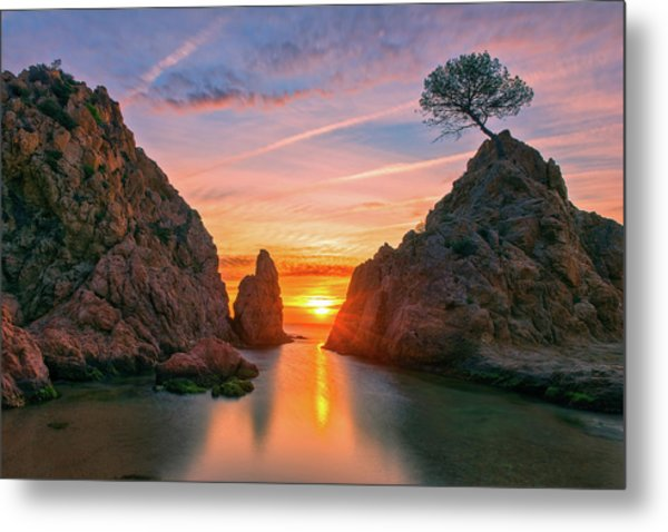 Sunrise In The Village Of Tossa De Mar, Costa Brava Metal Print