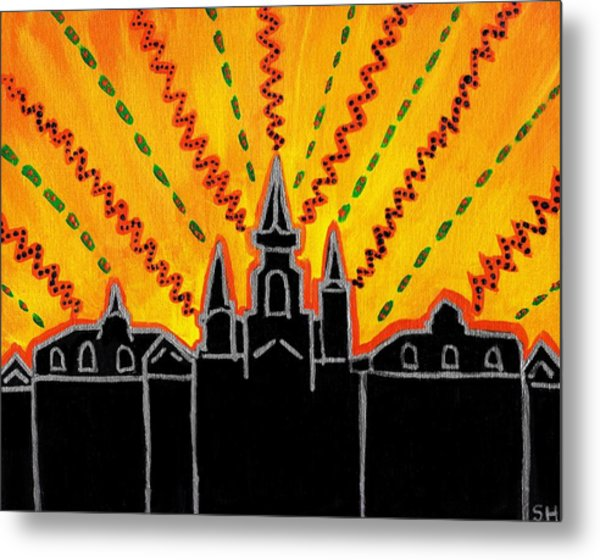 Metal Print featuring the painting Sunrise Over Jackson Square New Orleans Hand Painted Cityscape by Samantha Galactica