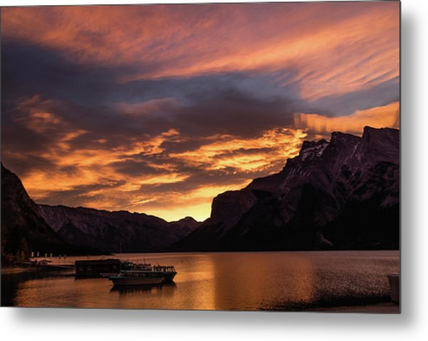 Sunrise Over Lake Minnewanka, Banff National Park, Alberta, Cana Metal Print