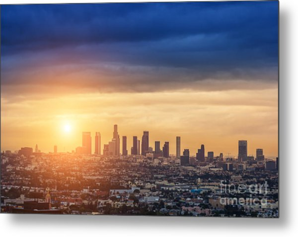 Sunrise Over Los Angeles City Skyline Metal Print