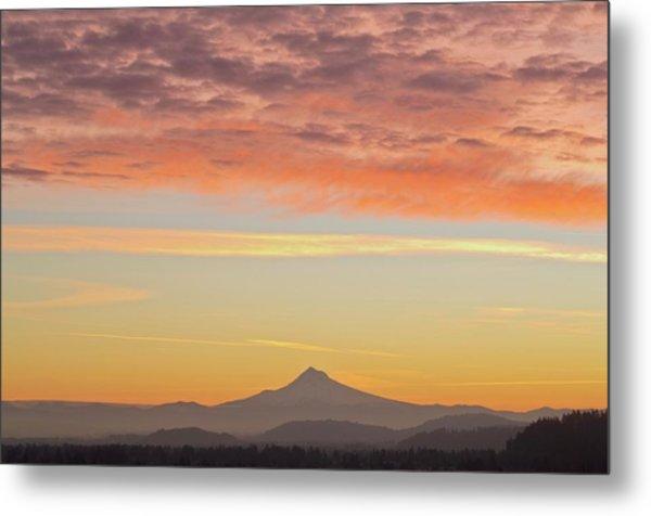 Sunrise Over Mount Hood From Mount Tabor Metal Print by Design Pics / Dan Sherwood