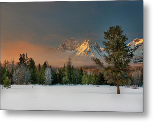Sunrise Over Sawtooth Mountains Idaho Metal Print
