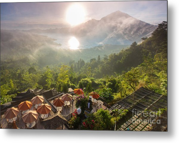 Sunrise Over The Valley With Villages Metal Print