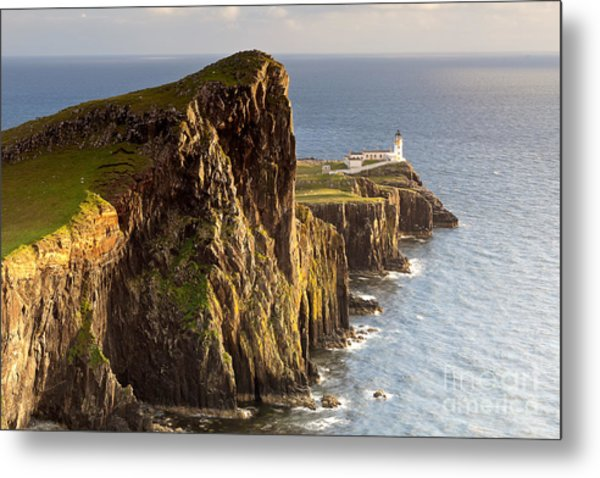 Sunset And Lighthouse At Neist Point Metal Print