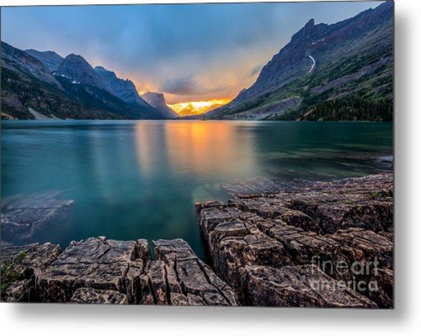 Sunset At St. Mary Lake, Glacier Metal Print