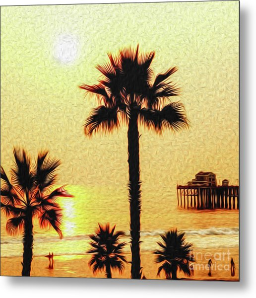 Metal Print featuring the digital art Sunset At The Beach In Oceanside California by Kenneth Montgomery