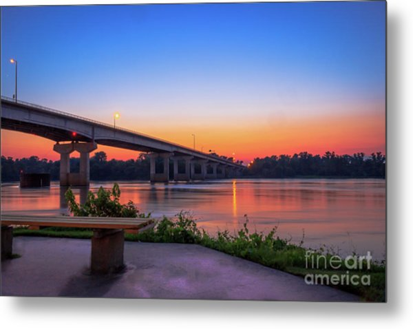 Sunset At The River Park Metal Print