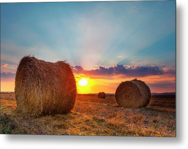 Sunset Bales Metal Print